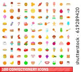 100 confectionery icons set in... | Shutterstock .eps vector #619289420