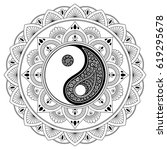vector henna tatoo mandala. yin ... | Shutterstock .eps vector #619295678