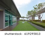 sky garden on rooftop of... | Shutterstock . vector #619295813