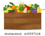 fresh fruits in a box... | Shutterstock .eps vector #619297118