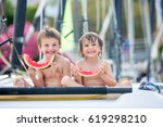 two little children  boy... | Shutterstock . vector #619298210