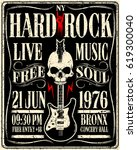 hard rock music poster | Shutterstock .eps vector #619300040