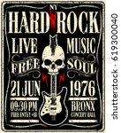 hard rock music poster | Shutterstock .eps vector #619300040