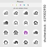 house type vector icons for... | Shutterstock .eps vector #619302950