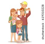 family portrait. young woman... | Shutterstock .eps vector #619310228