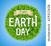 earth day green postcard  | Shutterstock . vector #619312628