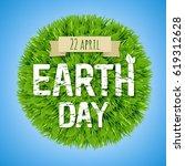 earth day green postcard  | Shutterstock . vector #619312628