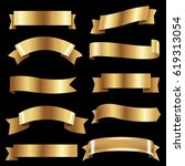 big golden ribbons set  | Shutterstock . vector #619313054