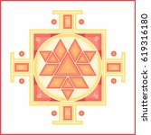 sri yantra   symbol of hindu... | Shutterstock .eps vector #619316180