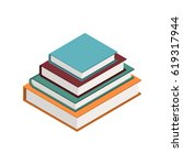 Stack Of Books In Isometric...