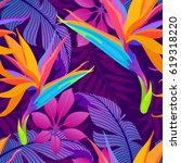 tropical leaves and paradise... | Shutterstock .eps vector #619318220