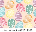 easter background with eggs... | Shutterstock .eps vector #619319108