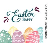 happy easter isolated with... | Shutterstock .eps vector #619319114