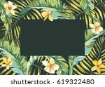 tropical leafs composition... | Shutterstock .eps vector #619322480
