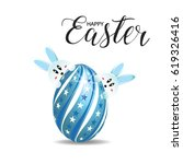 happy easter greeting card with ... | Shutterstock .eps vector #619326416