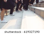 people and businessman legs...   Shutterstock . vector #619327190