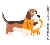 Stock vector basset hound dog and red cat kitten characters pets friendship concept cartoon vector 619328894