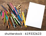 blank paper and colorful...   Shutterstock . vector #619332623