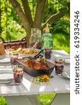 healthy dinner with potatoes... | Shutterstock . vector #619334246