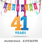 41 years birthday celebration...   Shutterstock .eps vector #619336598