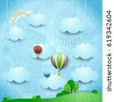 surreal landscape with rain and ...   Shutterstock .eps vector #619342604