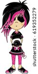 cute cartoon emo punk girl | Shutterstock .eps vector #619352279