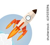 rocket ship in a flat style... | Shutterstock .eps vector #619355096