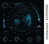 interactive sci fi dashboard... | Shutterstock .eps vector #619355360
