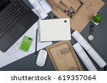 workplace of architect  ... | Shutterstock . vector #619357064