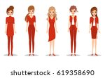 beautiful slender fashion woman ... | Shutterstock .eps vector #619358690