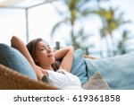 home lifestyle woman relaxing... | Shutterstock . vector #619361858