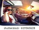 car trip and two lovers  | Shutterstock . vector #619363628