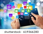 working on a tablet computer. | Shutterstock . vector #619366280