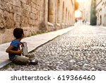 refugee from the middle east on ... | Shutterstock . vector #619366460