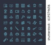 vector outline icon collection  ... | Shutterstock .eps vector #619374656