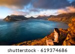 young tourist woman looks at... | Shutterstock . vector #619374686
