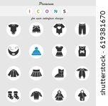 baby clothes vector icons for... | Shutterstock .eps vector #619381670