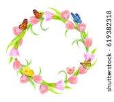 lovely wreath of pink tulips... | Shutterstock . vector #619382318
