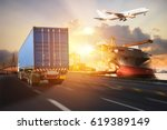 truck transport container on... | Shutterstock . vector #619389149
