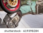 motorcycle tyres wheel with... | Shutterstock . vector #619398284