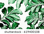 Green Leaf Pattern On White...