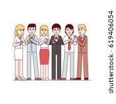 standing business men   women... | Shutterstock .eps vector #619406054