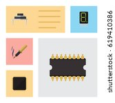 flat electronics set of repair  ... | Shutterstock .eps vector #619410386