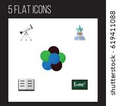 flat knowledge  study set of... | Shutterstock .eps vector #619411088