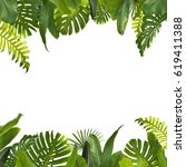 tropical jungle leaves... | Shutterstock . vector #619411388