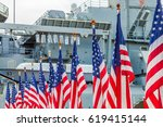american flags with background... | Shutterstock . vector #619415144