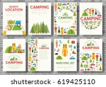 camping trip cards set. hiking... | Shutterstock .eps vector #619425110