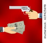 robbery concept. hand holding... | Shutterstock .eps vector #619425698