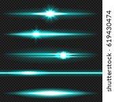 cyan horizontal lens flares... | Shutterstock .eps vector #619430474