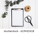 paper on clipboard mock up ... | Shutterstock . vector #619432418